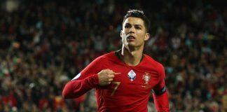 Cristiano Ronaldo celebrates scoring their second goal