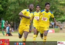 Saunders SC's Abdul Mohamed (L) celebrates scoring a goal with his teammates - FA Cup 2016 Quarter Finals