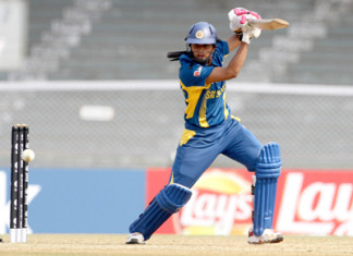 Shashikala Siriwardena captain of Srilanka plays a shot during the ICC Women World Cup match against England at the CCI in Mumbai, India on February 01, 2013. (ICC/SOLARIS IMAGES)