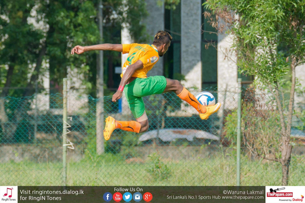 Solid SC's Amith Kumara trying to control the ball in mid-air - FA Cup (Last 32 Round)