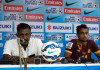 Sri Lanka coach Sampath Perera and Mohamed Rifnaz at the post match press conference (Photo - SAFF Suzuki Cup)