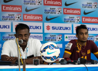 Sri Lanka coach Sampath Perera and Mohamed Rifnaz at the post match press conference (Photo - SAFF Suzuki Cup)