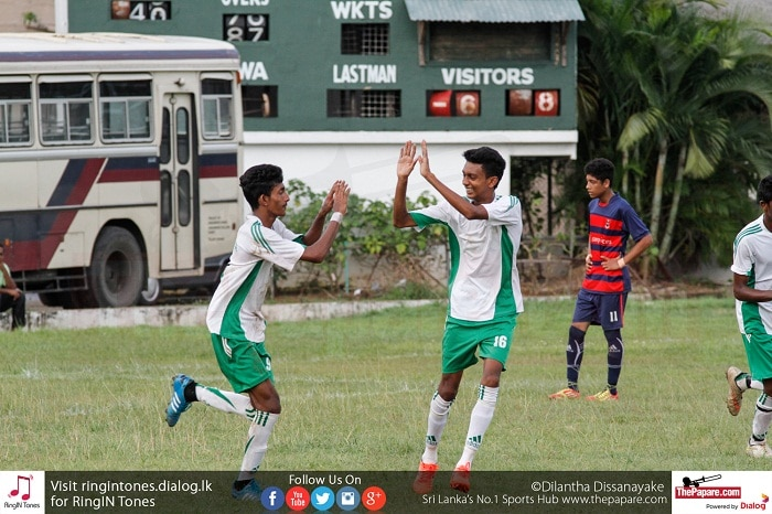 St.Benedict's striker Abishek Fernando (L) celebrates scoring a goal with his teammate - Schools Football 2016