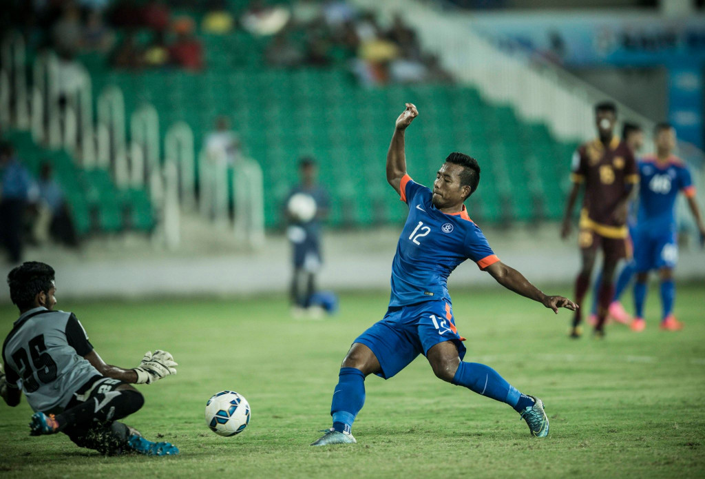 Sujan Perera saving an effort from Jeje (Photo - SAFF Suzuki Cup)