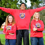 Tharjini Sivalingam (centre) with City West Falcons coach Marg Lind and Nicole Richardson. Picture Damjan Janevski