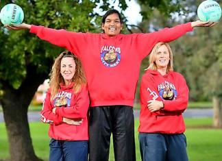Tharjini Sivalingam (centre) with City West Falcons coach Marg Lind and Nicole Richardson. Picture Damjan Janevski