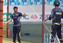 Pakistani cricketers practice before the Test match against New Zeeland in Dubai on the tour of 2014. (KT file)