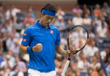 © AFP / by Dave James | Kei Nishikori of Japan celebrates a point against Andy Murray of Great Britain during their 2016 US Open men's singles quarterfinals match at the USTA Billie Jean King National Tennis Center on September 7, 2016 in New York