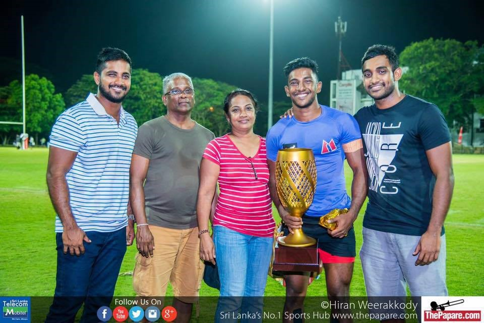 The Costa family; rugby runs in their blood. Lasintha (left), Ashan (right), Kavindu (second from right) with their parents