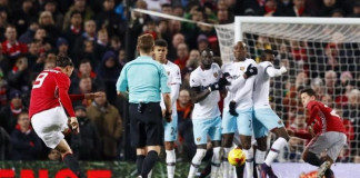 Manchester United's Zlatan Ibrahimovic shoots at goal from a free kick