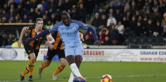 Manchester City's Yaya Toure scores their first goal from the penalty spot