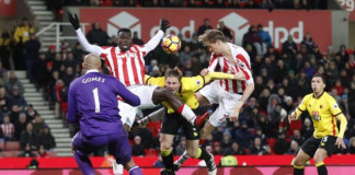 Stoke City's Peter Crouch shoots at goal