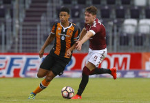 Hull City's Curtis Davies in action with Torino's Andrea Belotti. Torino v Hull City - Pre Season Friendly - MyPhone Austria Stadium, Salzburg, Austria