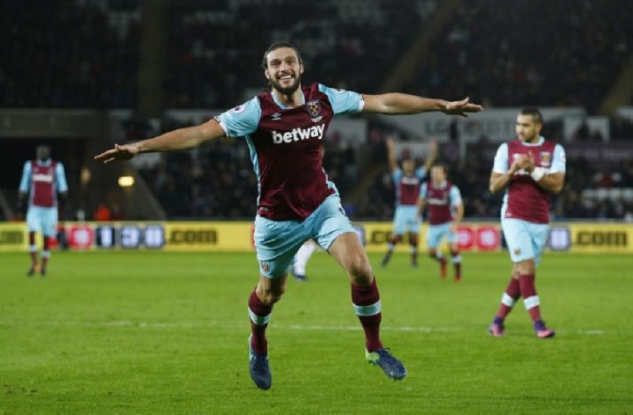 West Ham United's Andy Carroll celebrates scoring their fourth goal