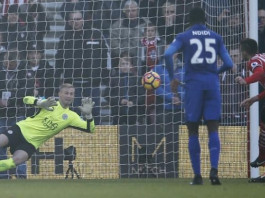 Southampton's Dusan Tadic scores their third goal from the penalty spot