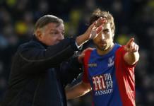 Crystal Palace manager Sam Allardyce with Crystal Palace's Mathieu Flamini