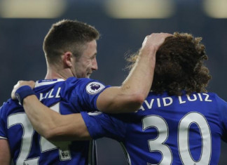 Chelsea's Gary Cahill and David Luiz after the match