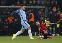 Manchester City's Sergio Aguero in action with Bournemouth's Andrew Surman Action Images via Reuters
