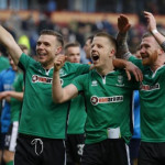 Lincoln's Alan Power, Terry Hawkridge and Jonathan Jack Muldoon celebrate after the match