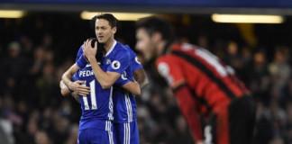 Chelsea's Pedro celebrates scoring their third goal with Nemanja Matic