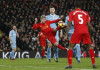 Liverpool's Alberto Moreno shoots at goal