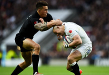 Sonny Bill Williams and Mike Brown during New Zealand's win over England, Twickenham 2014