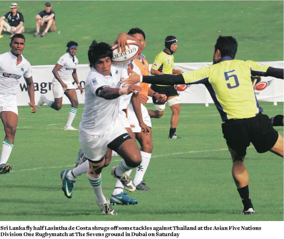 From the yesteryear. Sri Lanka flyhalf Lasintha de Costa in action for the Tuskers at the Asia Five Nations Division one Rugby game in Dubai