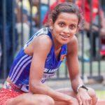 Hiruni Wijayaratne of Sri Lanka in action in the 97th Sri Lanka Athletic Nationals