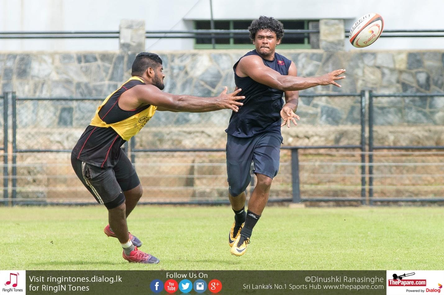 Muthuthanthri (R) training at Racecourse ahead of the 1st leg. Pictured left is Omalka Gunarathane