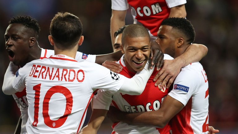 Monaco's 18-year-old forward Kylian Mbappe opened the scoring