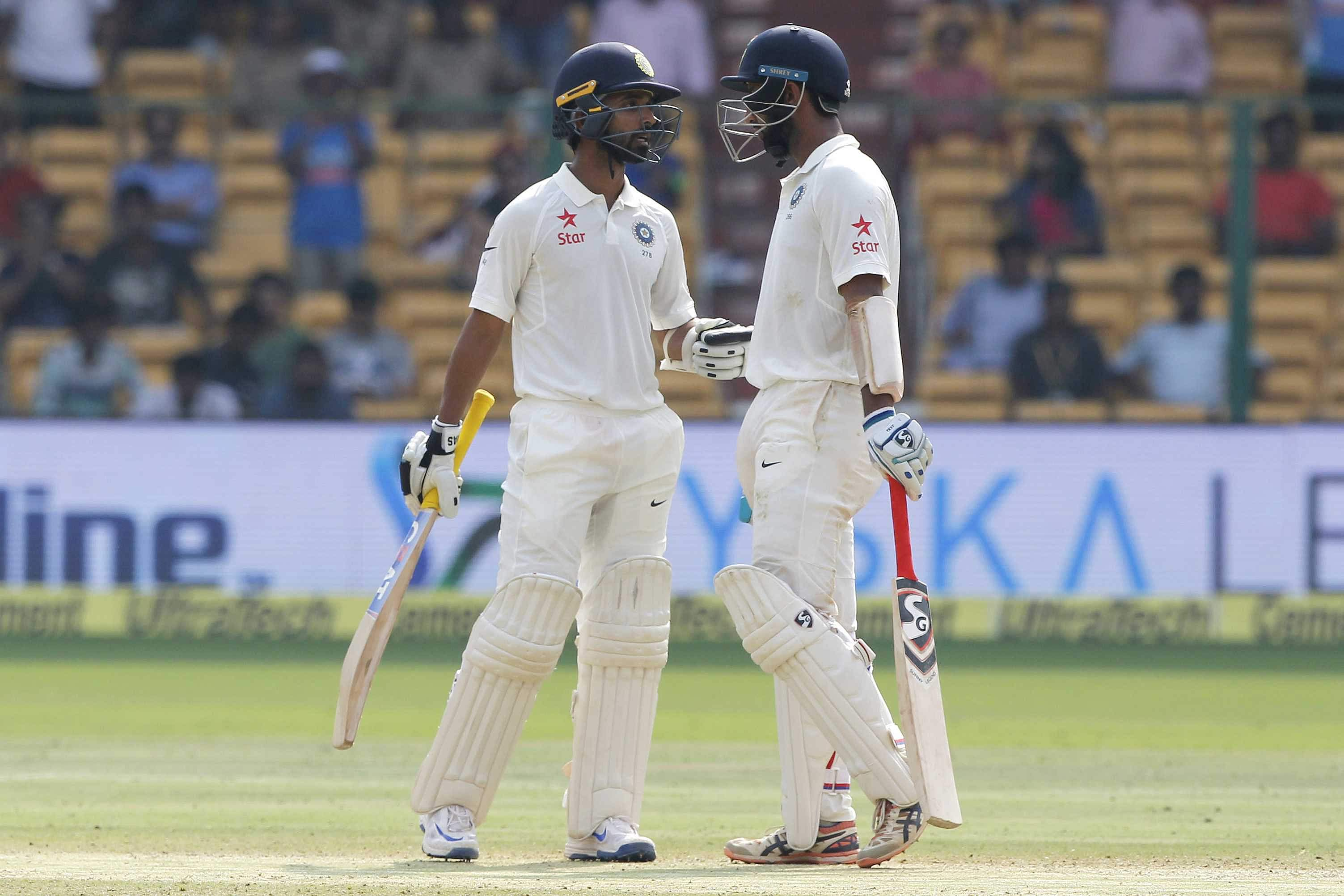 Pujara, Rahane consolidate in a testing session