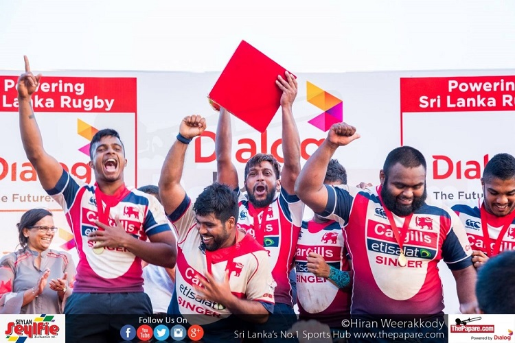 Roshan Weeraratne lifting the Dialog Rugby League silverware for 2016/17