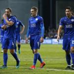 Leicester City's Danny Drinkwater, Jamie Vardy and Shinji Okazaki after the match