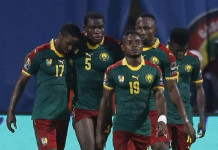 Football Soccer - African Cup of Nations - Semi Finals - Cameroon v Ghana - Stade de Franceville, Franceville, Gabon - 2/2/17 Cameroon's Michael Ngadeu-Ngadjui celebrates scoring their first goal with teammates Reuters / Amr Abdallah Dalsh Livepic