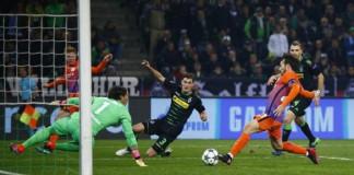 Manchester City's David Silva scores their first goal