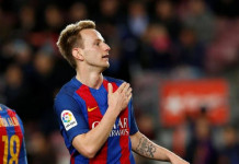 Football Soccer - Barcelona v Sporting Gijon - Spanish LaLiga Santander - Camp Nou stadium, Barcelona, Spain - 1/03/2017. Barcelona's Ivan Rakitic celebrates a goal. REUTERS/Albert Gea