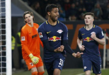 Football Soccer - FC Augsburg v RB Leipzig - German Bundesliga - WWK Arena, Augsburg, Germany- 3/3/17 - Leipzig's Marvin Compper celebrates after scoring their second goal against Augsburg. REUTERS/Michaela Rehle