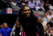 Serena Williams celebrates defeating Simona Halep (AFP Photo/Mike Hewitt)