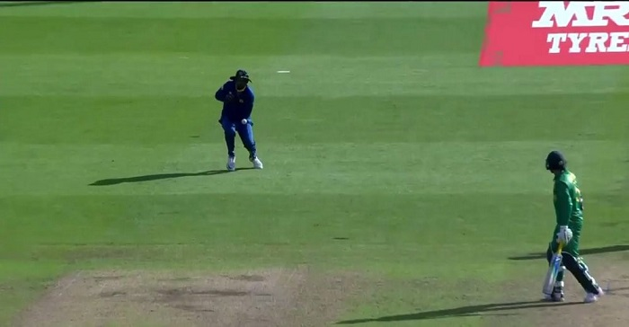 Thisara Perera drops a dolly at mid-on