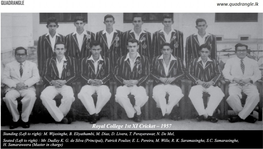 Royal College 1xi cricket team in 1957 (Image courtesy – www.quadrangle.lk)